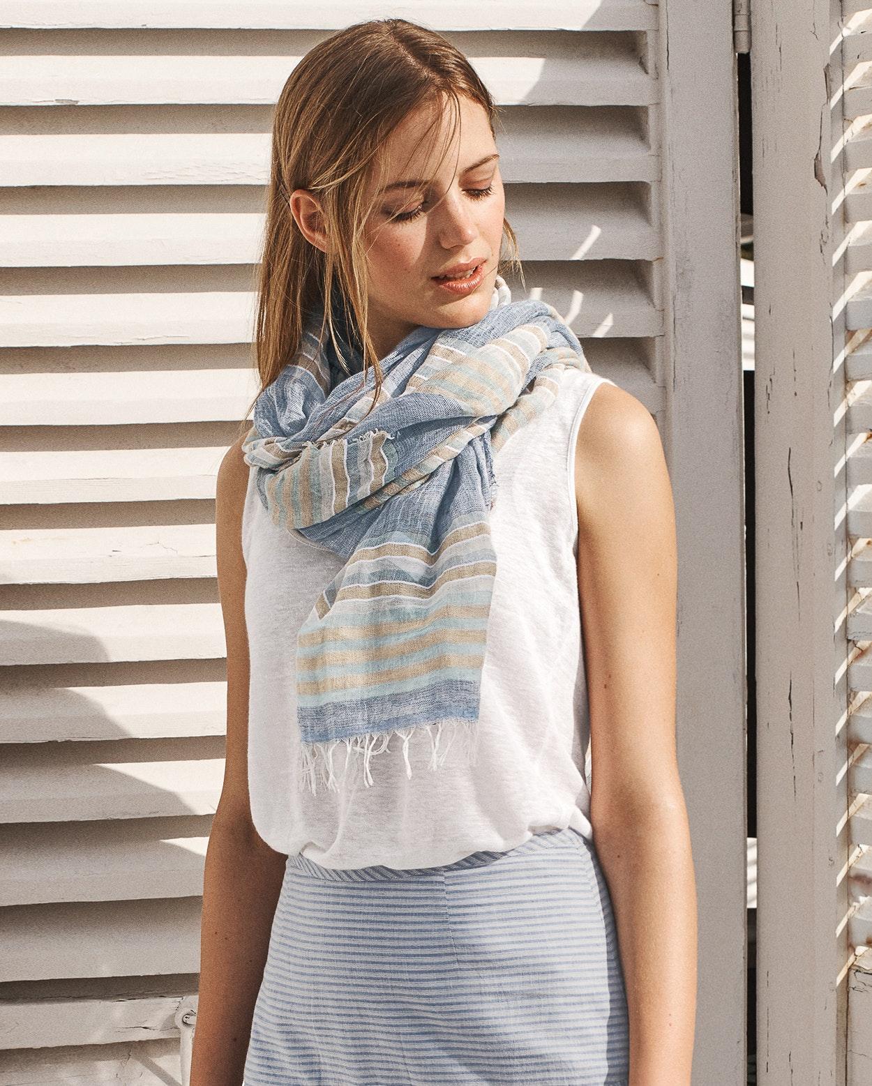 8e71cef1e23 Poetry - Striped linen and cotton scarf