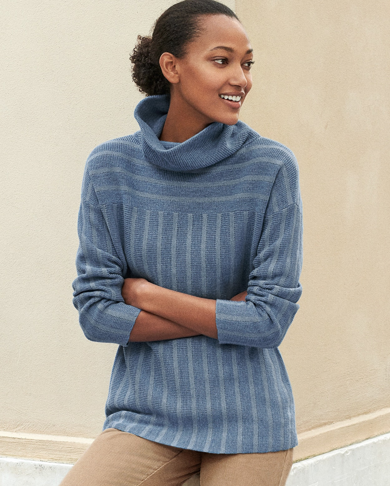 c9d5d3c3 Image of Striped wool cotton funnel-neck sweater
