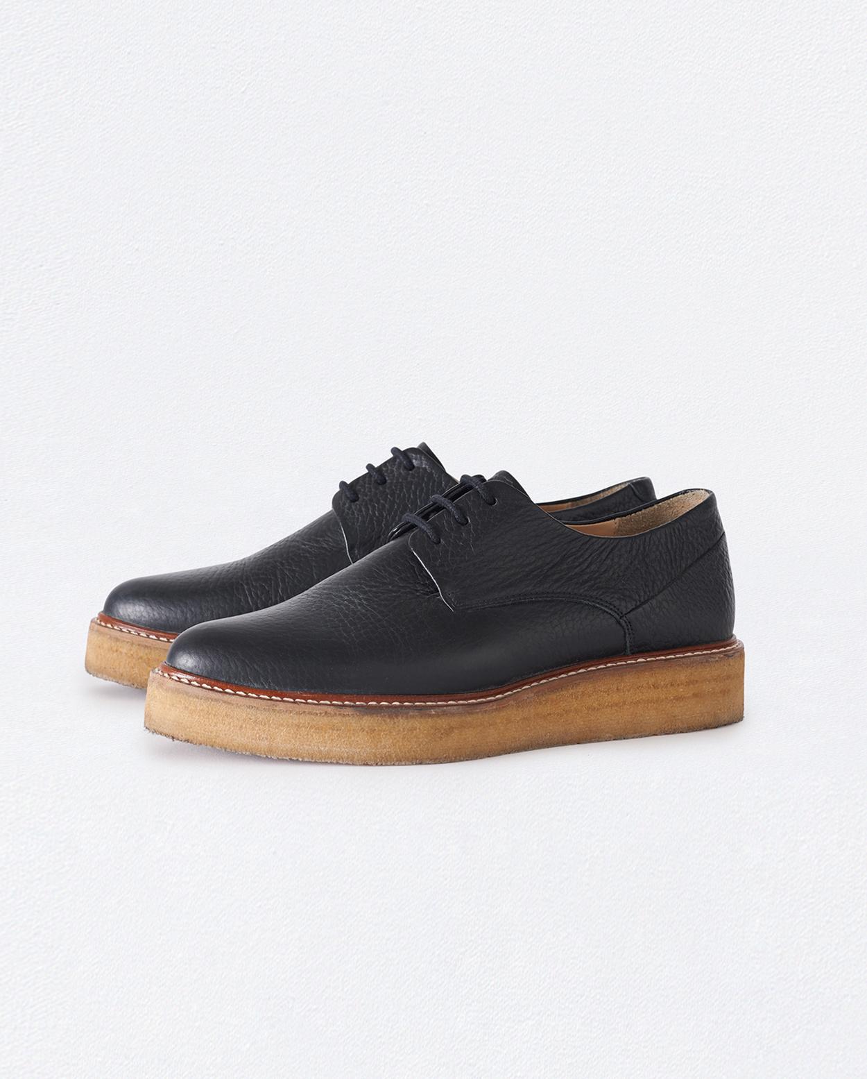 Poetry - Black crêpe sole lace-up shoes