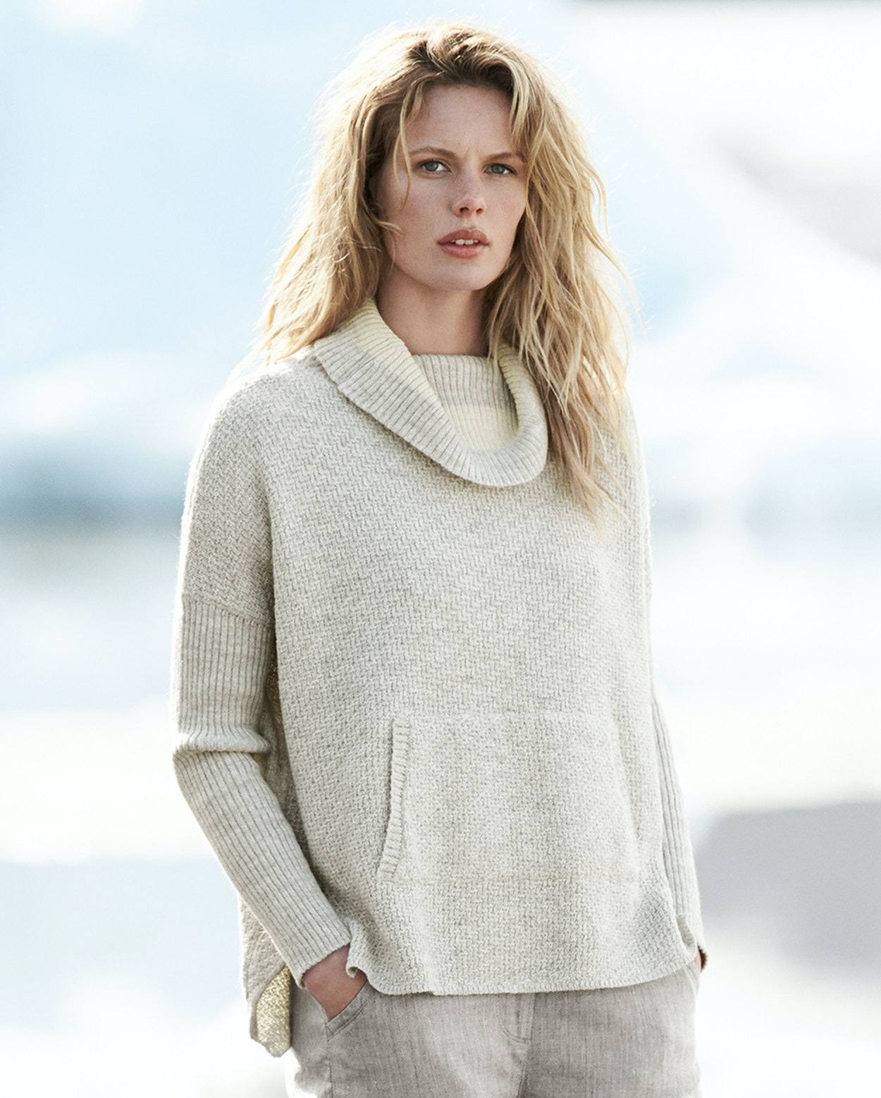 Poetry - Cotton and alpaca cowl neck sweater