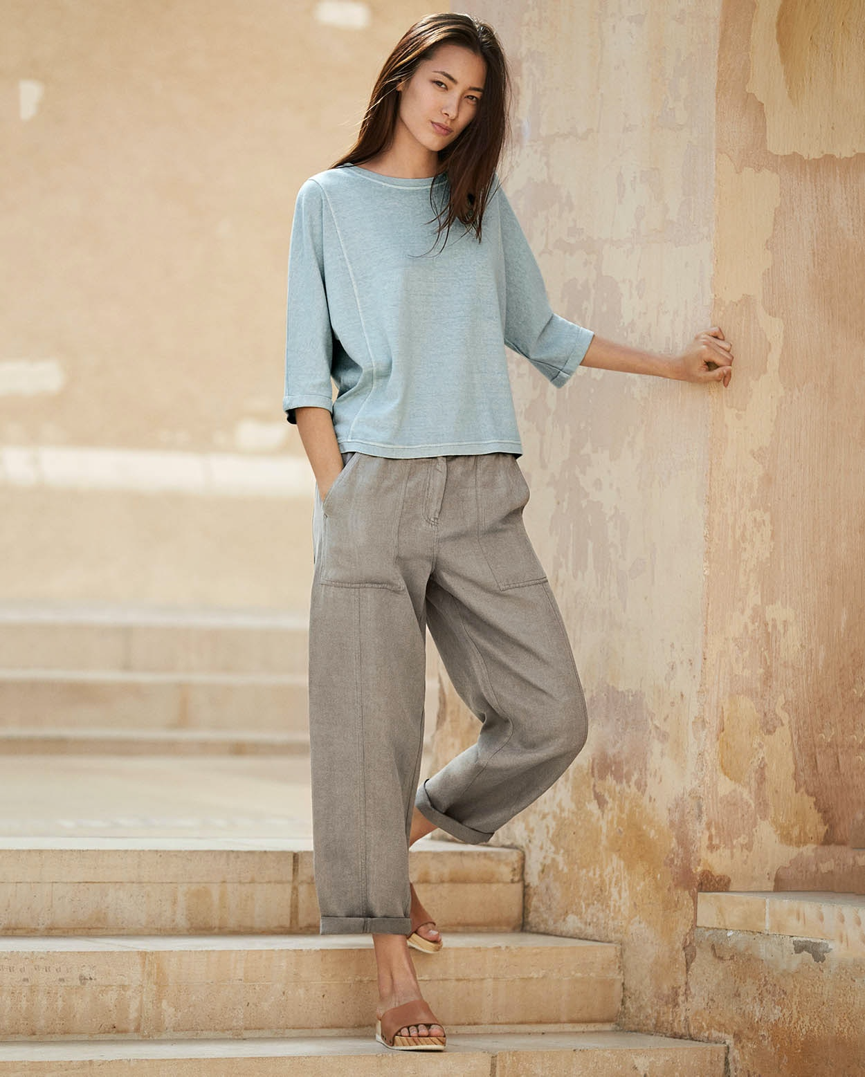 4f770221c6090c Image of Silk linen cropped trousers