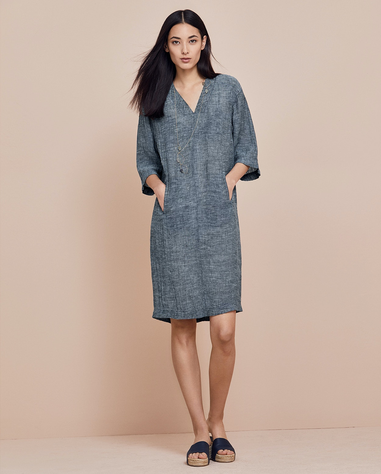 Poetry Crinkle Linen V Neck Dress