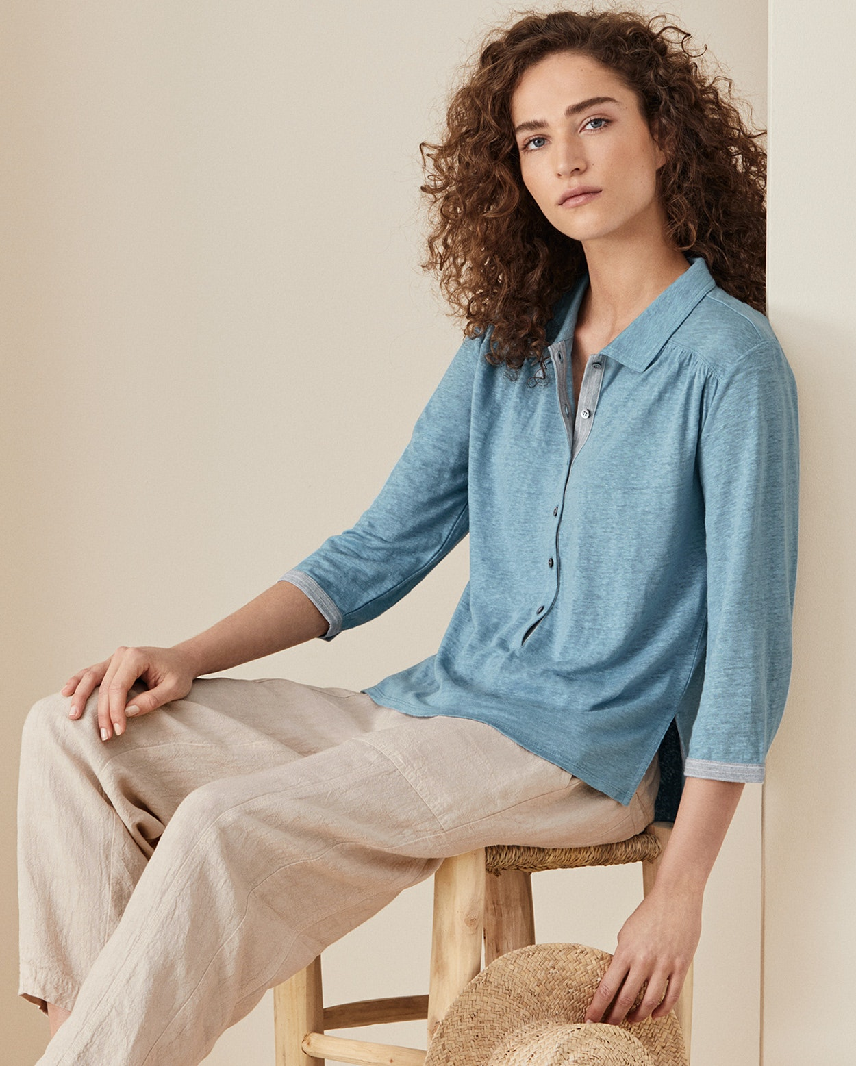 Poetry Linen Jersey Polo Shirt
