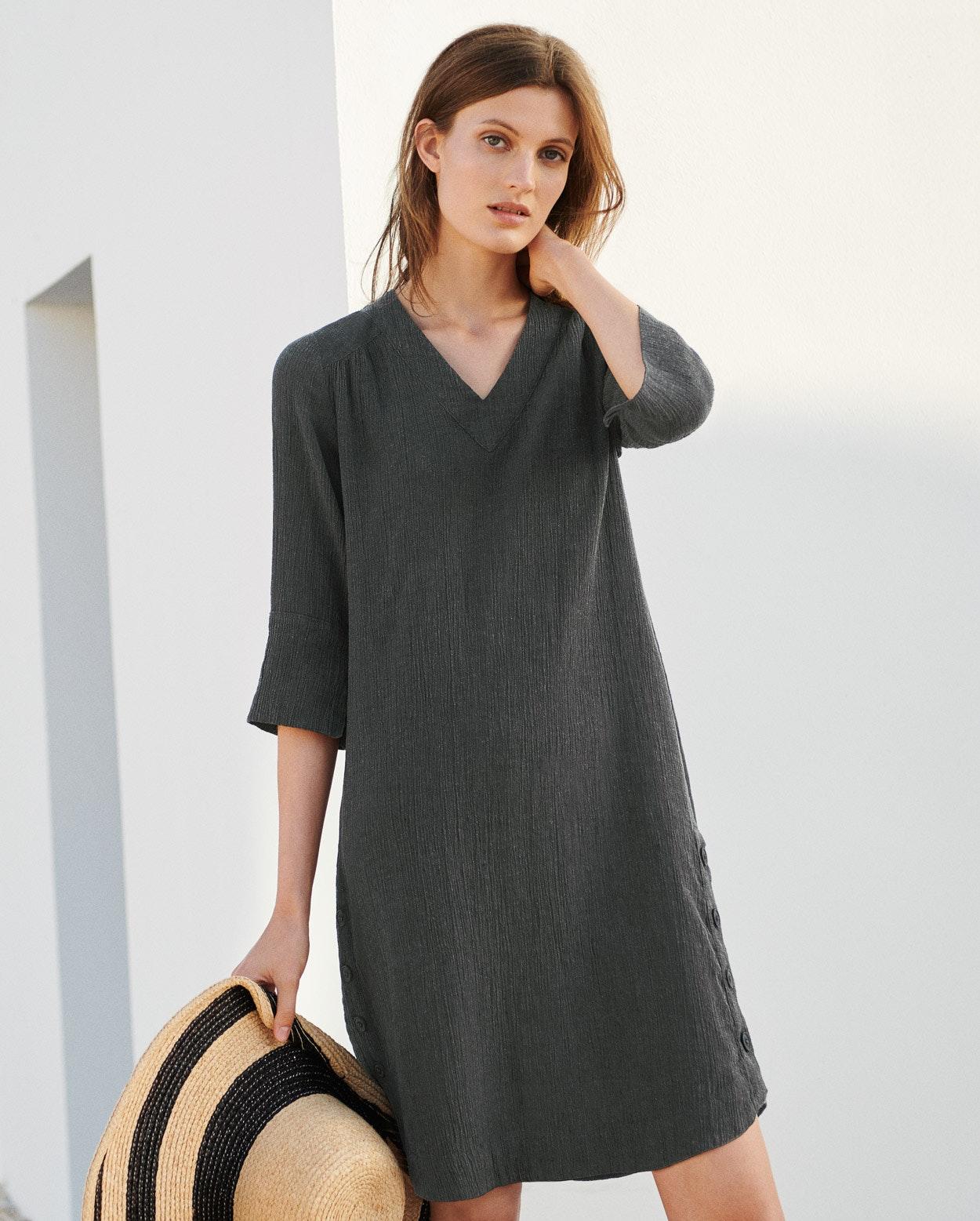 ecd7f2f56e Poetry - V-neck crinkle linen dress