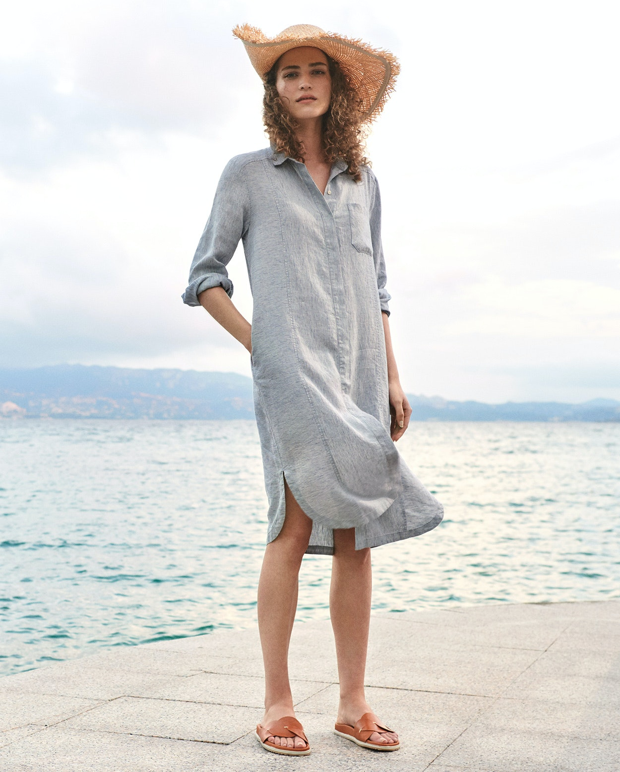 Poetry Striped Linen Shirtdress