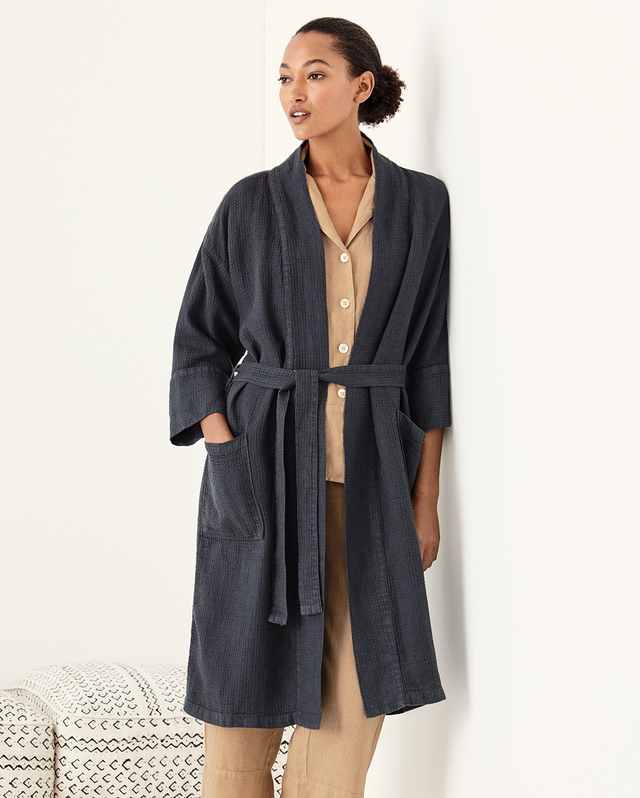 Poetry Textured Linen Robe