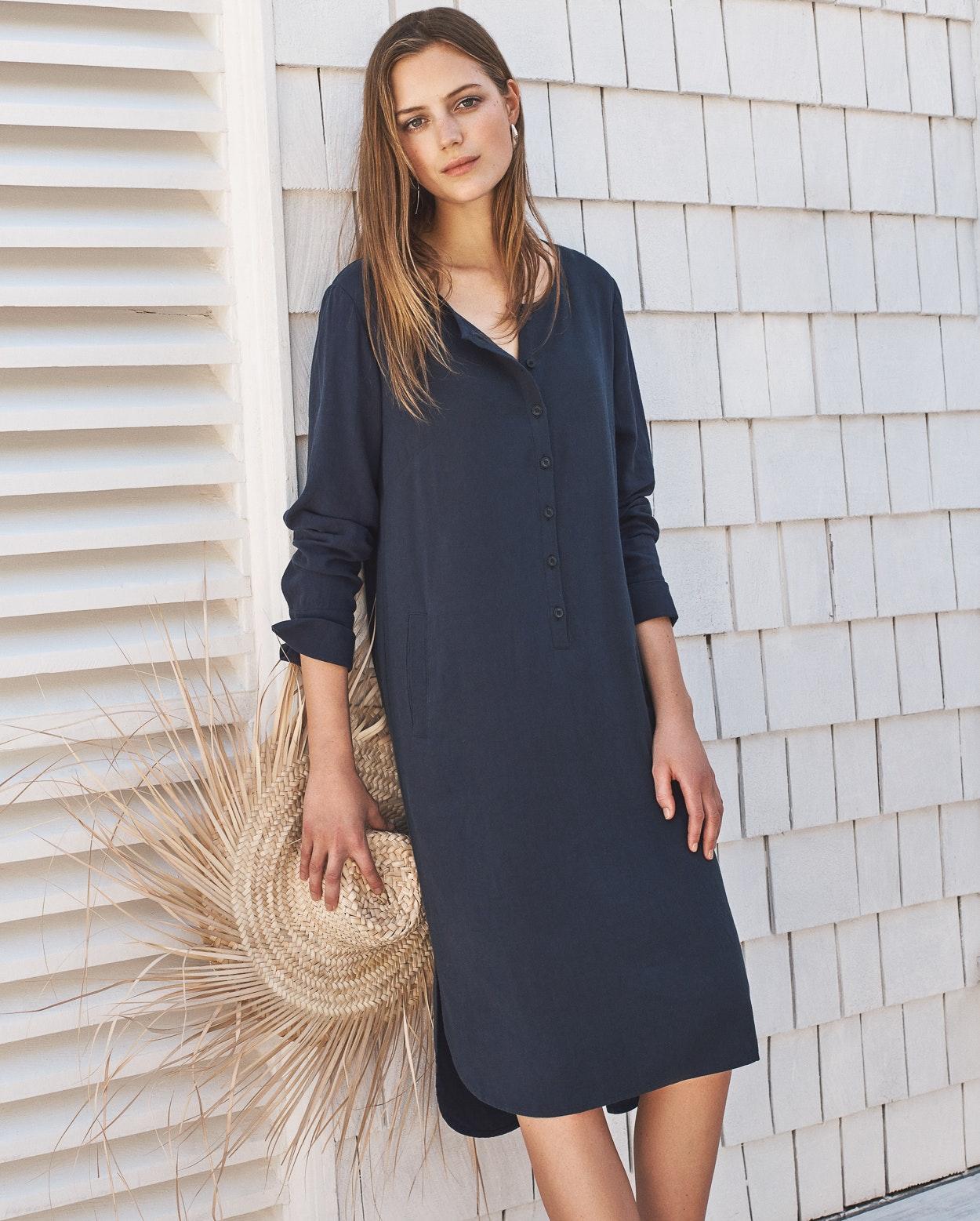 4171bd62d88 Poetry - Viskose-Leinen-Kleid mit Knopfleiste